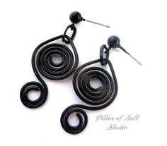 Wire wrapped earrings / black jewelry / double spiral earrings / black earrings / wire wrapped jewelry handmade / Goth jewelry