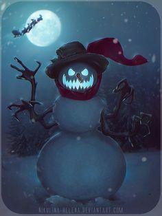 -Snowman- by Nikulina-Helena Dark Christmas, Christmas Scenes, Christmas Art, Christmas Humor, Viking Christmas, Zombie Christmas, Disneyland Christmas, Xmas, Retro Christmas Decorations