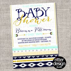 A personal favorite from my Etsy shop https://www.etsy.com/listing/252402991/aztec-tribal-mint-navy-gold-baby-shower