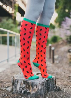 Take the summer picnic with you wherever you go! Greatest thing about cool watermelon socks? No seeds to deal with, and absolutely no leftover stickiness.