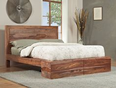 cool coastal feeling wood bedframe