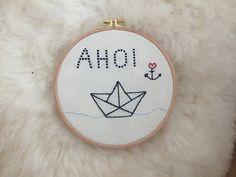 """Wanddeko - Stickbild """"AHOI"""", Embroidery, Sticken, Stickrahmen - ein Designerstück von stefanieraabe bei DaWanda"""