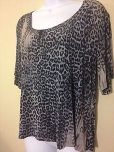 "Chico's CHICO TRAVELERS SHORT SLEEVE CHEETAH 3 LEOPARD PRINT EUC SZ 2 BUST 40"" #Chicos #Blouse"