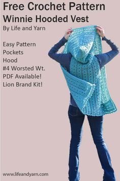 Free Crochet Pattern For Beginners - Free Crochet Pattern For Beginners Winnie Hooded Crochet Vest with Pockets! Cardigan Au Crochet, Crochet Vest Pattern, Crochet Coat, Crochet Jacket, Crochet Scarves, Crochet Shawl, Crochet Clothes, Crochet Stitches, Crochet Vests