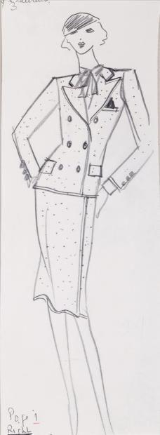 Yves SAINT LAURENT Dessin sur papier à la mine de plomb représentant un