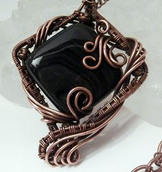 Wire Wrapped Pendant, Banded Black Onyx and Copper Necklace, Handmade Wire Jewelry