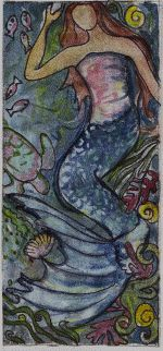 Rug-Hooking-Mermaid by Rachelle LeBlanc -- soft lines, Chagall-like coloration, lovely