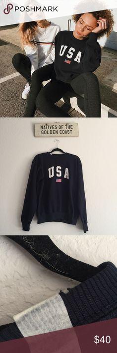 Navy USA Erica sweater Has small tear on collar. One size. Brandy Melville Tops Sweatshirts & Hoodies