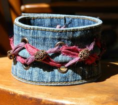 One Kiss Creations Beaded Jewelry: Reclaimed Sari Ribbon Denim Cuff