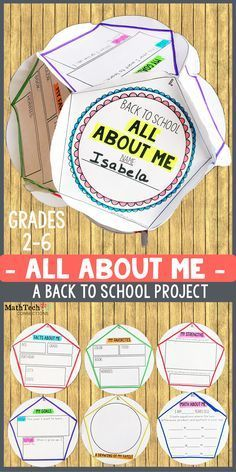 Back to School - All About Me - Project! This fun back to school project is perfect for the first week of school.  After students complete the project, hand up as a classroom display.  This is perfect for Open House :)