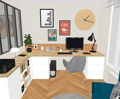 Home Office Design, Interior Design Living Room, House Design, Ikea Malm Desk, Alcove Ideas Living Room, Spare Room Office, Art Studio At Home, My House Plans, Home Decor Inspiration