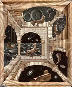 Another world, Escher.  Aunque no es andaluz, usa una técnica muy extendida en nuestra tierra; el arte arábigo. Además ese arte surreallista que tanto me atrapa