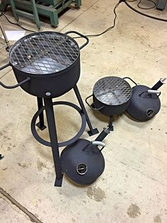 Perfect for camping trips or stays at the beach. Each grill is made from old 20 pound propane tanks. They feature a reinforced cooking grill (12 diameter), temperature gauge, closing smoke stack and high heat paint. These can be made to custom configurations as pictured. I can also make them for hitch mount. Dont let the small size deceive you. The grill can handle 6 burger patties or 12 hot dogs. Locally made and redneck engineered in Texas.
