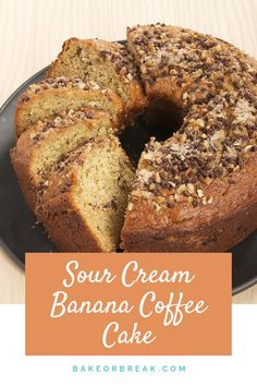Sour Cream Banana Coffee Cake is a delicious and delicate banana cake with a swi. - Recipes from Bake or Break - Kuchen Banana Coffee Cakes, Sour Cream Coffee Cake, Coffee Cream, Sour Cream Banana Cake, Banana Nut Pound Cake Recipe, Banana Bundt Cake, Banana Bread, Banana Recipes, Cake Recipes