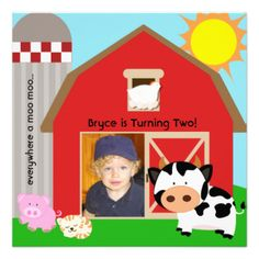 Our farm theme birthday invitations are fully customizable so you can add your child's photo, name, and birthday party information before ordering. Features a little boy on the farm with the cow, pig, chicken, cat, sheep, even the big red barn and silo! #farm #boys #farm #theme #parties #birthday #farm #birthday #kids #photo #1st #birthday #first #birthday #party #child #cow #sheep #pig #cat #chicken #silo #red #barn #hay #barn #custom #add #photo #customized #personalized #peacockcards