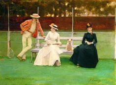 網球場的路上。to the tennis court: 網球與油畫 - John Lavery