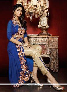 Shilpa Shetty Georgette Blue Designer Salwar Suit Model  YOS3659