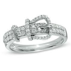 1/4 CT. T.W. Diamond Belt Buckle Ring in Sterling Silver - Zales