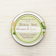 So sweet!  Natural Lip Balm Tin - Honey and Cooling Peppermint - Honey Bee / eco friendly green