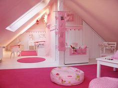 white and pink girl's attic bedroom