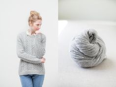 """Cordova cabled raglan pullover by Michele Wang. Shown in color """"Snowbound"""". From Brooklyn Tweed's """"Winter15"""" Collection. Photographed by Jared Flood. #btwinter15 #brooklyntweed #madeinUSA #shelteryarn #loftyarn #cordova #pullover"""