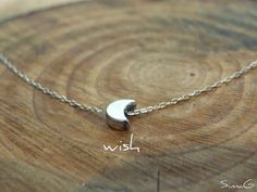 tiny little WISH  sterling silver moon    By SimaG by Simag, $31.00