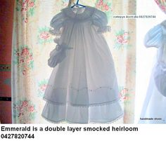 emmerald is a victorian heirloom double layer smocked with round collar embroidery on collar and hand embroidery on hem 0427820744