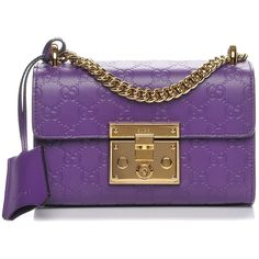 GUCCI Guccissima Small Padlock Shoulder Bag Purple ❤ liked on Polyvore featuring bags, handbags, shoulder bags, purple leather handbags, genuine leather shoulder bag, chain shoulder bag, purple leather shoulder bag and purple purse