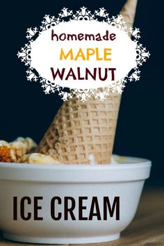 homemade ice cream Try making some homemade maple walnut ice cream. It is so good on a hot afternoon or as a yummy dessert. Ice Cream Deserts, Ice Cream Recipes, Healthy Ice Cream, Vegan Ice Cream, Maple Walnut Ice Cream Recipe, Sorbet, Kitchen Aid Ice Cream, Yogurt Ice Cream, Comfort Food