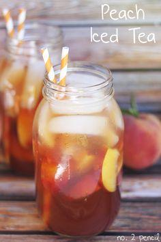 Easy Homemade Peach Iced Tea, using 12 Tea bags, 1 C sugar, 1/4 tsp Baking Soda, 11oz Peach nectar, 1 fresh lemon, 4 fresh peaces sliced