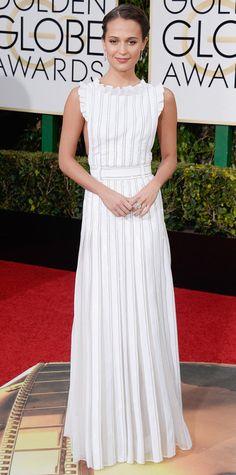 2016 Golden Globes Red Carpet Arrivals - Alicia Vikander in Louis Vuitton