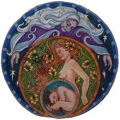 Shop mandala goddess artwork for your favorite doula, midwife, mama, or birth junkie. Éphémères Vintage, Maiden Mother Crone, Birth Art, Pregnancy Art, Celtic Culture, Divine Mother, Triple Goddess, Sacred Feminine, Goddess Art