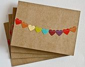 Wedding Thank You Cards. Bunting Flag Note Card Set. Rainbow Heart Garland Cards. Gifts Under 10. Kraft Paper Stationery. Blank Cards