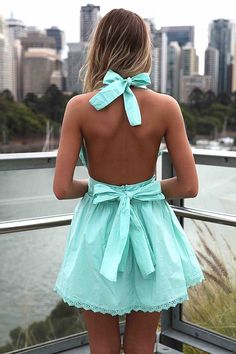 Teal Halter Dress with Open Back and bow