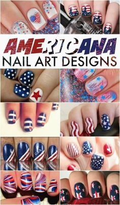 It has been a couple of months since i did a nail art designs round up. Just a few more weeks and the fourth of july will be upon us so i figured it was time to get your pretty americana nails on. My summer nails have been mostly pinks and corals so i think it will be fun to add in a little dark blue and red for the White Nails, Red Nails, Hair And Nails, Cute Nail Art, Easy Nail Art, Fancy Nails, Pretty Nails, Nail Art Designs, July 4th Nails Designs