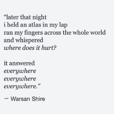 Warsan Shire - used to follow her on tumblr before she became more well-known. Absolutely well-deserved. This sort of talent should be shared with the world.