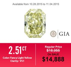 Fancy Light Yellow Diamond - Especially for this sale off week - Hurry up! #diamond #engagementring #weddingband #jewelry #menring #womenring #18Kwhitegoldengagementring #hungphatusa