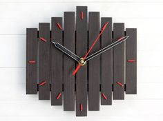 Customized Gift Wall Clock, Personalized Family Name Laser Engraved, Minimalist Round Wood Clock Handcrafted Large Wall Clock Romb I bicolor red contemporary wall clock silent by Paladim Wall Clock Wooden, Wood Clocks, Clock Wall, Wall Wood, Diy Clock, Clock Decor, Wall Decor, Industrial Clocks, Industrial Office