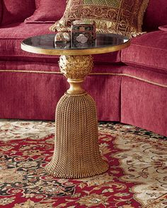 This Tassel Table from Neiman Marcus is everything I want in my life and more. *wrought iron base and a granite top