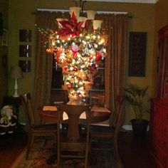 4 foot Christmas tree attached to a wreath. I added a strand of garland to make it full and an upside down lampshade wrapped with burlap to hide the cord for the lights. Decorate to fit your style and enjoy!! I love sitting at the table under the lights.