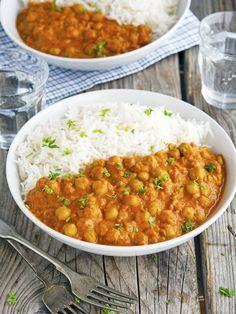 (Vegan) Easy Chickpea Tikka Masala   use less olive oil and replace full fat coconut milk with light for #3Shift.