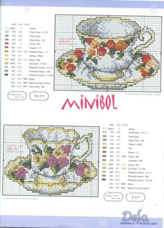 Cups and saucers Cross Stitch Cards, Cross Stitch Borders, Cross Stitch Flowers, Counted Cross Stitch Patterns, Cross Stitch Designs, Cross Stitching, Cross Stitch Embroidery, Embroidery Patterns, Cross Stitch Kitchen