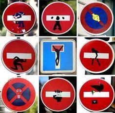 【権力に挑戦したかった】大阪、京都の道路標識に落書き、フランス人芸術家が関与 - Togetterまとめ Protest Kunst, Protest Art, Sticker Street Art, Grafitti Street, Street Art Banksy, Funny Road Signs, Urbane Kunst, No Photoshop, Street Signs