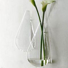 Wall-mounted Water Drop Shape Glass Vase Garden Hydroponice Plants Flower Pot