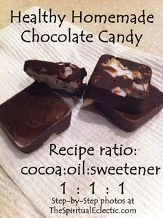 Chocolate Candy Recipe - use this method with other recipe for melting xylitol. 1/2 cup coconut oil, 1/4 cocoa powder, 2 tablespoons xylitol, and 1 teaspoon vanilla. Plus add ins like coconut and almonds. Must melt xylitol!!