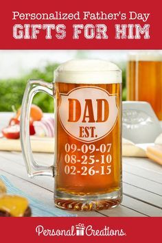 A Personal Creations Exclusive! Celebrate a special man with an oversized beer mug featuring the dates that changed his life. Glass mug has a sturdy handle and a heavy base with an attractive starburst design. Bday Gifts For Him, Diy Gifts For Mom, Homemade Gifts, Personalized Fathers Day Gifts, Fathers Day Crafts, Fathers Day Mugs, Dad Day, Beer Mugs, Craft Gifts