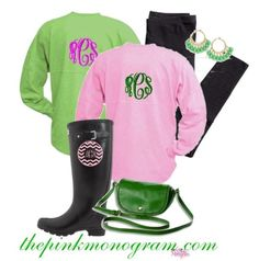 Spirit Shirts Monogrammed Long Sleeve Crew Tee Shirts All Colors At The Pink Monogram