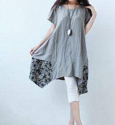 Summer asymmetric Patchwork dress Short sleeve gown by MaLieb