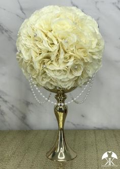 IVORY Flower Ball made of PREMIUM Soft Silk roses, BLING PEARL BROOCHES and DRAPING PEARLS. 12 INCH PICTURED. GOLD STAND SOLD SEPARATELY.  These premium roses have a crisp fresh cut flower look that hold color over time. You will be amazed at how beautiful and stunning the roses look in the daylight Flower Ball Centerpiece, Blush Centerpiece, Blue Wedding Centerpieces, Mickey Centerpiece, Crown Centerpiece, Blush And Grey Wedding, Aqua Wedding, Luxury Wedding, Wedding Decor
