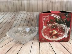 Mikasa Silent Night Etched Glass Basket With Handle Christmas Decorations     eBay